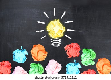Bright idea concept with light bulb shaped crumpled paper on blackboard