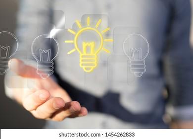Bright idea in hand concept design art.