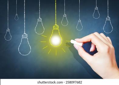 Bright idea on blackboard concept