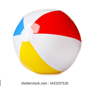 Bright inflatable ball on white background. Beach accessory
