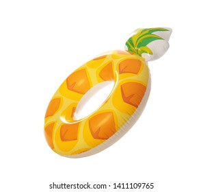 Bright inflatable ring in shape of pineapple on white background. Summer holidays
