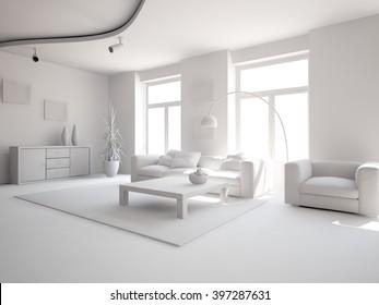 bright interior design of living room with grey furniture - 3d illustration