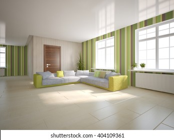 bright interior design of modern house with green wallpapers on a wall - 3d illustration