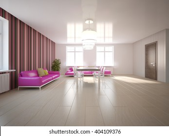 Bright Interior Design Of Modern House With Violet Wallpapers On A Wall And Pink  Sofa
