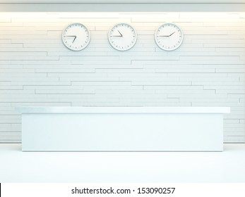 bright interior with reception desk