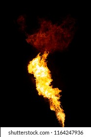 Bright isolated fire stream with red cloud on top, flame texture