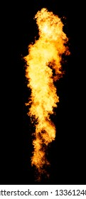 Bright isolated flame column, fire tongue goes from flamethrower