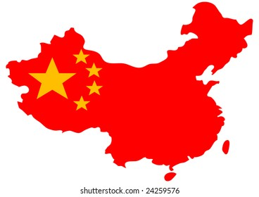bright isolated illustration of Chinese flag on country map
