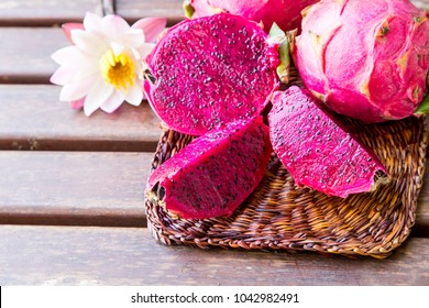 bright juicy tropical red dragon fruit. Dragon fruit or Pitaya is the plant in Cactaceae family or Cactus