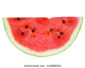 Bright juicy watermelon on a white background with reflection isolated. Half refreshing berries top view and soft focus. Healthy diet and vegetarian meals in the summer.
