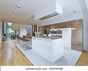 Bright kitchen avant-garde style. Kitchen cabinets and countertop bar with dark wood texture and kitchen appliances made in white. 3D render