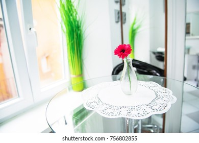 Bright kitchen home decoration. Elegant equipment. White space. Food or flower on the table-