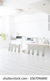Bright kitchen white table