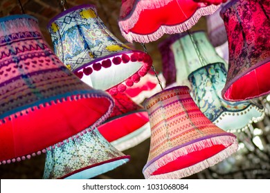 Bright lampshades in market