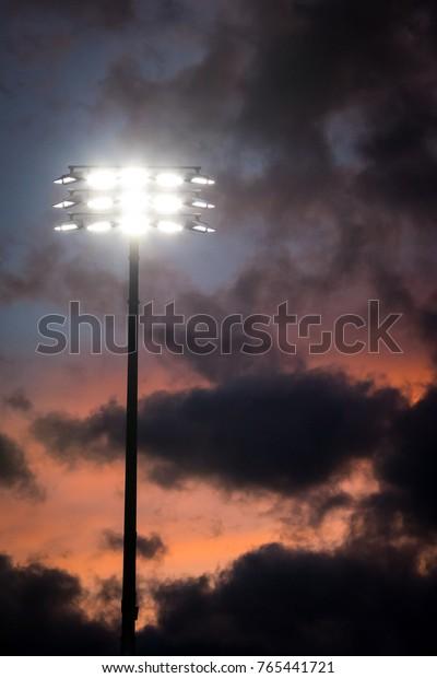Bright Led Stadium Lights On Tall Stock Photo (Edit Now