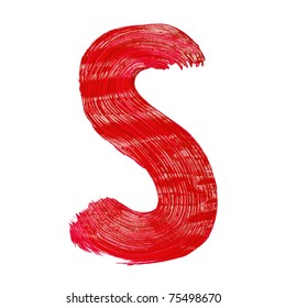 The bright letters S drawn by paints on white