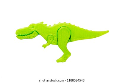 Bright light green object in shape of dinosaur toy printed on 3d printer isolated on white background. Fused deposition modeling, FDM. Concept modern progressive additive technology for 3d printing.