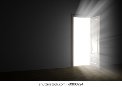bright light through an open door in empty room