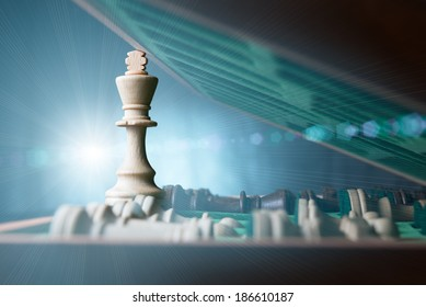 Bright light through opened chessboard