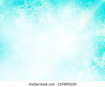 Bright light with white clouds and turquoise sky backdrop watercolor style