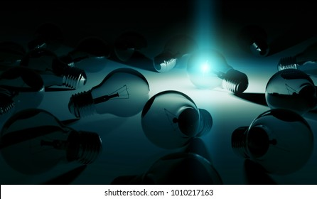 Bright lightbulb illuminating other bulbs with blue light 3D rendering