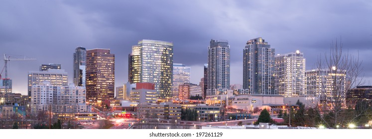 Bright Lights City Skyline Downtown Bellevue Washington United States