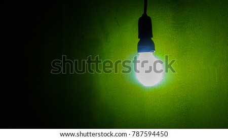 Bright Lights Hung Dark Room Green Stock Photo Edit Now 787594450