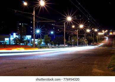 bright lights at night