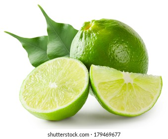 Bright lime green with leaves isolated on white background