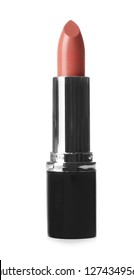 Bright lipstick on white background. Professional makeup product