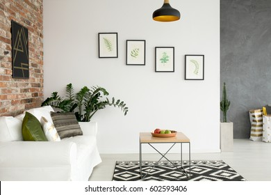 Bright living room with sofa, wall poster and wood table