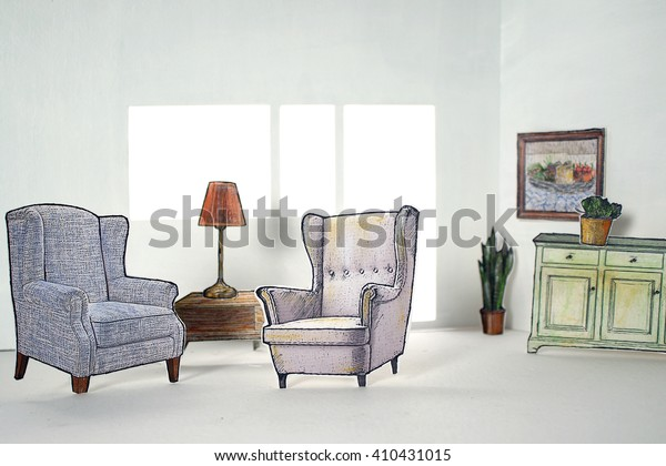 Sensational Bright Living Room Vintage Furniture Paper Stock Photo Edit Download Free Architecture Designs Meptaeticmadebymaigaardcom
