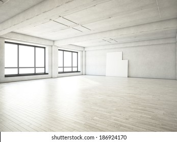 Bright loft and two blank posters on a wall