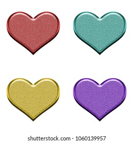 Bright metallic color simple classic heart shape set 3D illustration with a rough metal texture in red teal yellow & purple isolated on a white background with clipping path.