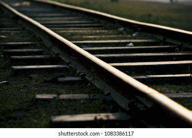 A bright meter gauge iron made rail lines isolated object unique stock photo