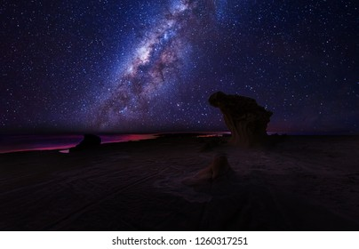 Bright Milky way Galaxy during starry night sky. Soft focus and nise due to long expose and high ISO.