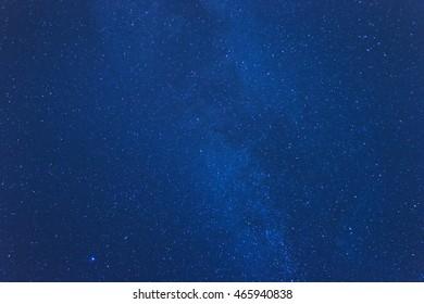 Bright Milky Way stars in clear night sky