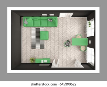 Bright minimalist living room with sofa and dining table, scandinavian white and gray interior design, top view, 3d illustration