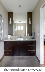 Bright modern bathroom. Interior design.