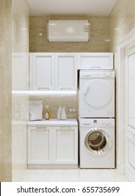Bright modern classic contemporary traditional laundry room WC with white cabinets, appliances and beige marble tile. 3d rendering