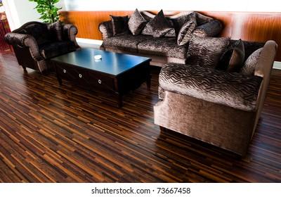 Bright modern interior Design with hard wood flooring.