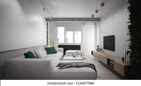 Bright and modern living room interior design - 3 d render