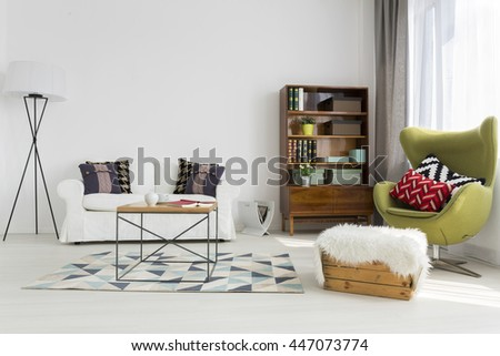 Bright Modern Living Room With Modernist Furniture