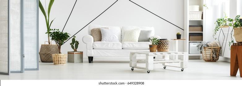 Bright modern white apartment in Scandinavian style