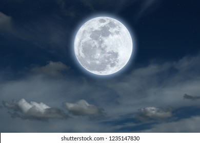 Bright moon on sky background.