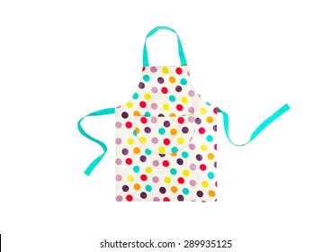 Bright multicolored polka dot apron isolated on white background