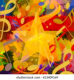 Bright music background with musical notes an big star
