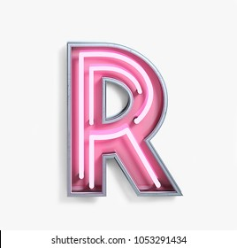 Bright Neon Font with fluorescent pink tubes. Letter R. Night Show Alphabet. 3d Rendering Isolated on White Background.