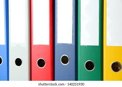 Bright office folders, close up
