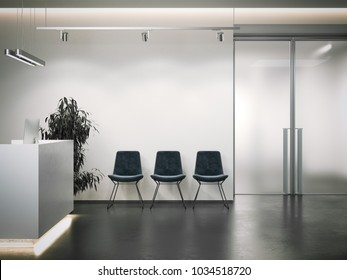 Bright office reception with waiting area and dark chairs. 3d rendering